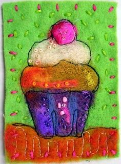 A fab needle felted cupcake !  Ask us about needle felting