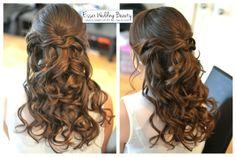 Bridal hair bridesmaid half up half down curls by www.essexweddingbeauty.co.uk