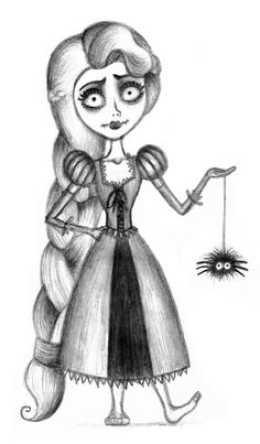 Tangled Rapunzel Tim Burton Style A4 print by TheMagicalSlipper, £10.00