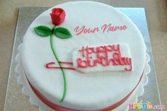 Red Rose Birthday Cake Images With Name Edit Happy Birthday Cake Photo, Birthday Cake Roses, Friends Birthday Cake, Birthday Cake Pictures, Birthday Cake With Candles, Birthday Quotes, Beautiful Birthday Cake Images, Cake Name, Rose Cake