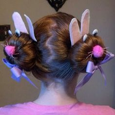 """♥ Bunny Buns ♥   Easter Hair Styles for Girls !! """"If I ever went to school like this the other kids would have held me down and beat some sense into me""""--Sydnee"""