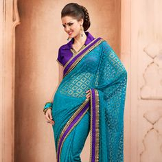 Turquoise Blue Net Brasso Saree with Blouse
