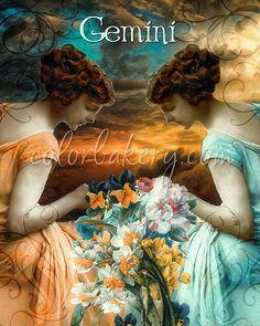 Gemini, Zodiac Renaissance Art Series