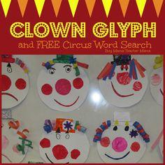 Boy Mama Teacher Mama |  Clown Glyph and FREE Word Search