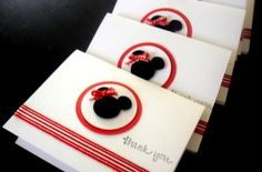 A Set of 6pcs. Red and White Minnie Mouse/Mickey Mouse Thank you  Notecards/Note Cards -Handmade Cards by Arleendesign. $5.00, via Etsy.