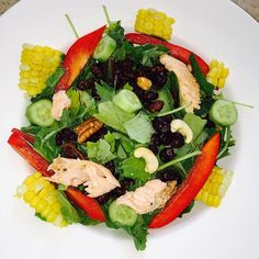 Get more omega3s by adding nuts & salmon to your Summer salad #TanyaTip #Omega3s #SaladAddict #FFACTORAPPROVED
