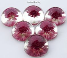 Real dried Gomphrena cabochons in the form of a hemisphere, with flat back. They also can be used as little table decor, holiday favor & so on.  Diametr: 1.2 inch.  You can...