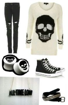Skull Outfit<--- Oh my gosh! An All Time Low necklace. I need that on my body like right now!