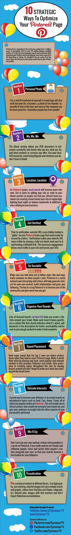 10 Ways To Optimize Your Pinterest Profile #marketing #infographic