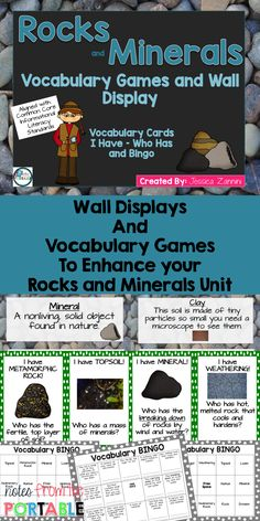 Perfect addition to my rocks and minerals unit! Vocabulary word wall and games (I Have, Who Has and Bingo) to teach my students about the rock cycle, weathering, erosion, minerals, types of rocks, types of soils, and more!