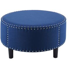 Jennifer Taylor Home Navy Tula Ottoman (375 CAD) ❤ liked on Polyvore featuring home, furniture, ottomans, dark blue furniture, navy furniture, round footstool, poly furniture and circular ottoman