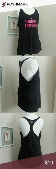 "Under Armour Loose Tank Racer back tank Black with pink logo front.  26""length Under Armour Tops Tank Tops"