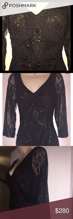 """Sue Wong nocturne black Embroidered size 12 New with tags, inside the original plastic and hanger. I bought it for my niece wearing, in Brazil, but could not go. It's all Lace Embroidered, see thru 3/4 Sleeves, v Neck, Low Back, but will not show Bra, 18"""" armpit to armpit, waist 15.5"""", length 38"""", Sleeves 18"""" Sue Wong Dresses Wedding"""