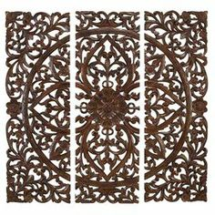 Hand-carved wood wall decor. Product: 3 Piece wall plaque setConstruction  Material: