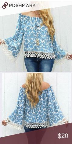 Rodeo Fox Blue Paisley Baja Top NWOT - This bright blouse is smocked with a ruffled edge for a dreamy off shoulder look. 100% cotton Made in the USA **Brand is Rodeo Fox. Listed under FP for visibility** Free People Tops