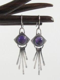 Sterling Silver Amethyst Shield Dangle Earrings, Modern, Purple Stone, Unique Design, Artisan Handmade, Whimsical, Fringe