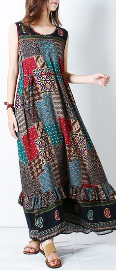 Bohemian Printed Sleeveless Stitching Hem Dresses. Women fashion. Summer dress. Beach fashion. Bohemian dress, boho dress. Boho fashion. Bohemian style. Gypsy style. #boho #bohemian #gypsy #affiliate #bohodress #bohoclothing #bohemianclothing #bohochic #bohostyle #hippiestyle #hippie #bohemiandress