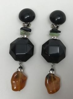 Angela Caputi Italian Designer Black, Amber Resin & Rhinestone Earrings | Jewelry & Watches, Fashion Jewelry, Earrings | eBay!