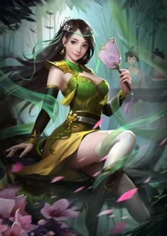 小乔 - ART by yi zhu wang - e. Fantasy Art Women, Beautiful Fantasy Art, Fantasy Girl, Fantasy Kunst, Anime Fantasy, Fantasy Character Design, Character Art, Fantasy Characters, Anime Characters