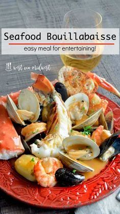 Seafood Bouillabaisse is full of shrimp, lobster, crab in a light flavorful healthy broth perfect for a great meal to serve company! A fish stew ready in less than 45 minutes! Seafood Bouillabaisse, Seafood Stew, Seafood Dinner, Seafood Meals, Seafood Platter, Seafood Boil, Best Seafood Recipes, Healthiest Seafood, Shellfish Recipes