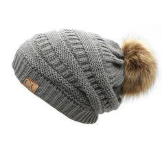 edd20d602cd 2017 hot Double layer fur ball cap pom poms winter hat for women girls hat  knitted beanies cap thick female cap