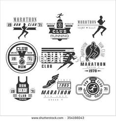 Running club labels, emblems and design elements vector set - stock vector Running Race, Running Club, Sports Brand Logos, Marathon Logo, Running Posters, Running Shirts, Track And Field, Cool Logo, Design Elements
