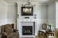 Marble tile fireplace living room traditional with mantel art oval back chair