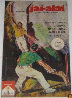 Philippines Vintage Jai Alai Program 1974 | eBay