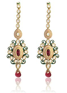 Vilandi earrings with american diamonds and ruby drop in two tone finish