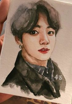 Fanart Do Jungkook, Kpop Fanart, Kpop Drawings, Art Drawings Sketches, Watercolor Drawing, Painting & Drawing, Fan Art, Grafik Design, Aesthetic Art