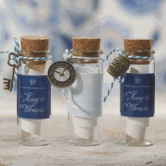 DIY wedding craft supplies features miniature glass bottles with a cork stopper that are popular containers used to create custom favors guests will enjoy. Beach Wedding Favors, Wedding Favors For Guests, Nautical Wedding, Diy Wedding, Wedding Gifts, Cork Wedding, Nautical Theme, Wedding Souvenir, Nautical Favors