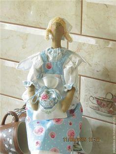 Купить Кукла в стиле Тильда Чайный Ангел - голубой, розовый, чай, кукла ручной работы