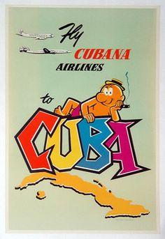 1955 Cubana Airlines Cuba Poster by Harry W. Graff, Inc.