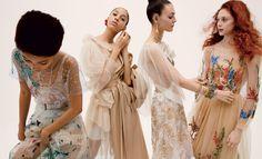 Lineisy Montero in Dior, Yasmin Wijnaldum in Simone Rocha, Vittoria Ceretti in Rodarte, and Natalie Westling in Alberta Ferretti. Photographed by Inez and Vinoodh, Vogue, March 2017.