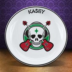 8 inch Rock n Roll Guitar Skull Plate Personalized Teenager Gift