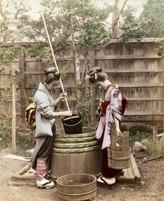 pictures of japanese water wells | Women drawing water from well, ca. 1890