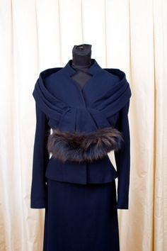 1950's Lilli Ann Suit // Designer Navy Blue Wool Suit with Fur Trim by Lilli Ann DROOL.... someone buy this from GarbOhVintage, please, because GAWD is that beautiful!!