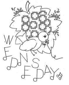 Hand Embroidery Pattern 3067 Birds Fruit for Days of the Week Towels