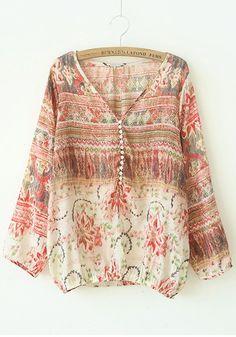 Red Floral V-neck Long Sleeve Cotton Blend Blouse