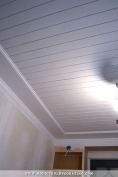 Best Cheap Basement Ceiling Ideas in 2018 Basement Ceiling Ideas exposed, low ceiling, basement make over Wood Plank Ceiling, Shiplap Ceiling, Ceiling Trim, Home Ceiling, Bedroom Ceiling, Wood Ceilings, Wood Planks, Wood On Ceiling Ideas, Ceiling Wood Design