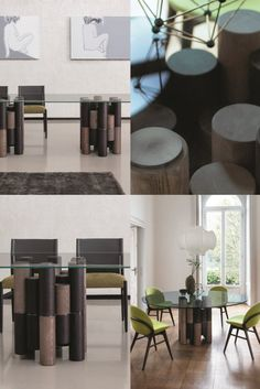 Dining table with base made up of different elements in solid ash. Top in tempered transparent glass (thickness mm. 15) fixed on metal plates in brushed anthracite. Joint in black chromed metal. Luxury Dining Room, Ash, Chrome, Dining Table, Plates, This Or That Questions, Metal, Furniture, Black