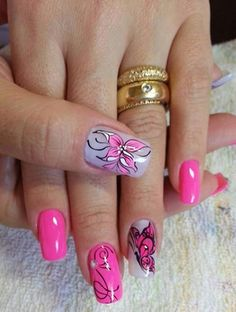 Pink Nails with Flowers & Butterflies Manicure, Nail Effects, Diva Nails, Butterfly Decorations, Best Nail Art Designs, Flower Nails, Nail Flowers, Cool Nail Art, Wedding Nails