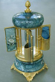 Vtg Reuge Music Box Carousel Lipstick Cigarette Holder White Flowers Blue Marble