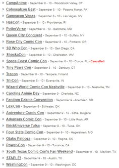 Space Coast Comic Con was cancelled due to Hurricane Irma but the other conventions taking place this weekend are all going on as planned.  Here's a list of cons around the United States Finland Bulgaria and Canada that are taking place this weekend.  For more details or to find other conventions in your area visit http://FanCons.com