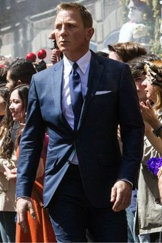 ON SALE - James Bond Spectre Suit in Navy Blue Color with Windowpane Pattern. Daniel Craig Two Piece Suit with Perfect Fit Guarantee!