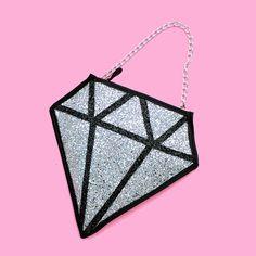 Silver Glitter Diamond Clutch Handbag by LunaontheMoon on Etsy