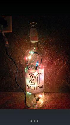 Lights in a wine bottle.  Diy