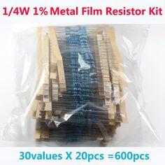 무료 배송 600 개 30 종류의 각 값 금속 필름 저항 팩 1/4 와트 1% 저항 모듬 키트 세트