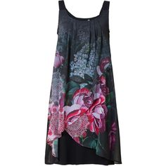 Desigual Giorgia Straps Dress (130 CAD) ❤ liked on Polyvore featuring dresses, black, women, flower dress, mixed print dress, lining dress, flower pattern dress and patterned shift dress