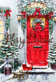 Magical Christmas Door Decoration Ideas You Must Try 05 Christmas Scenes, Noel Christmas, Winter Christmas, Christmas Greetings, Christmas Crafts, Christmas Decorations, Xmas, Holiday Decor, Magical Christmas